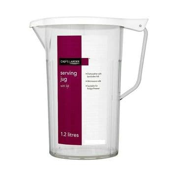 Plastic Serving Jug with Lid 1.2L - Dishwasher/Microwave/Fridge/Freezer safe